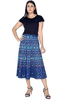 Pezzava Women's Cotton Ethnic Wrap Calf Length Skirt (Free Size)