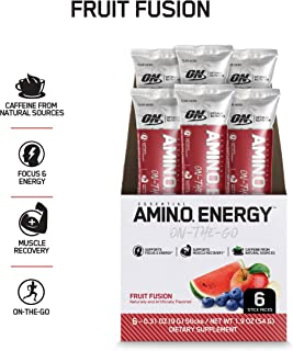 OPTIMUM NUTRITION ESSENTIAL AMINO ENERGY Individual Packs, Fruit Fusion, Keto Friendly BCAAs, with Green Tea and Green Coffee Extract, 0.31 Ounce (Pack of 6) Stick Packs