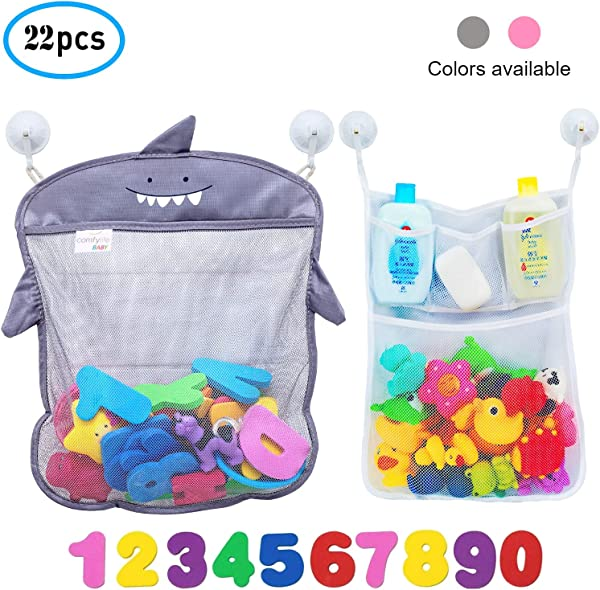 Comfylife 婴儿沐浴玩具组织者鲨鱼 2 沐浴玩具收纳网 10 玩具数字 10 强力挂钩儿童可爱浴缸玩具组织者和沐浴淋浴箱收纳解决方案
