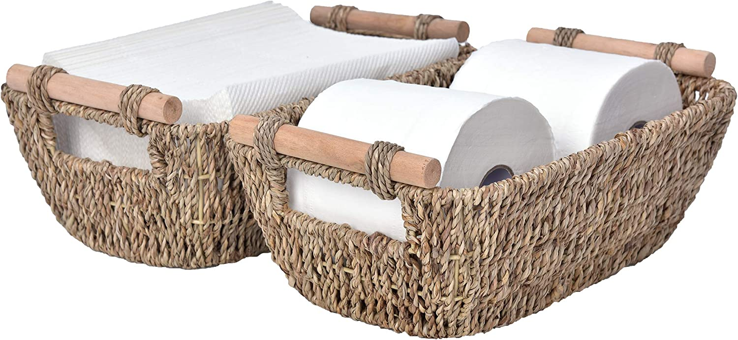 Max 52% OFF Omaha Mall StorageWorks Hand-Woven Small Wicker Baskets B Seagrass Storage