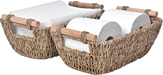 StorageWorks Wicker Storage Baskets, Decorative Seagrass Basket Tote with Wooden Handles, 12