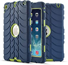 iPad Mini Case,iPad Mini 2 Case,iPad Mini 3 Case, UZER Tire Pattern Shockproof Anti-slip Silicone High Impact Resistant Hybrid Three Layer hard PC+Silicone Protective Case Cover for iPad Mini 1 2 3