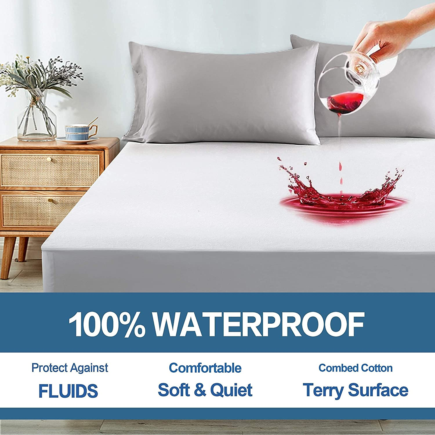 COHOME 100% Waterproof Mattress Protector Super beauty product restock quality Atlanta Mall top inch 8-21 Queen Fitted