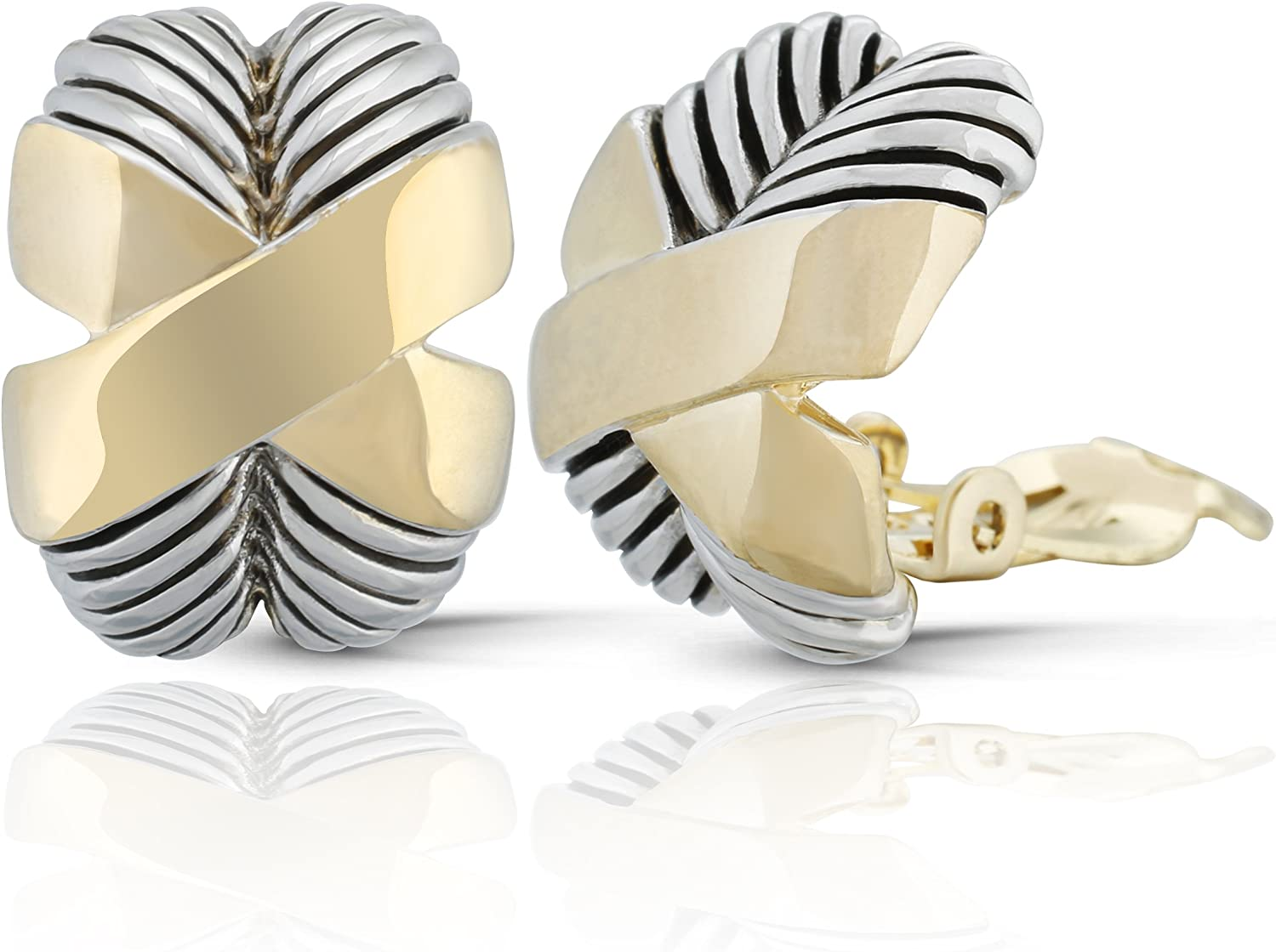 JanKuo Jewelry Two Tone X Shape Twisted Rope Clip On Earrings