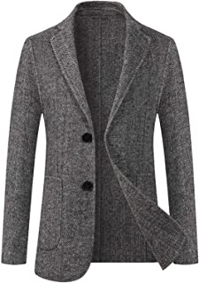 EverNight Men's Slim Fit Top Coat,Trench Wool Blend Overcoat,Business Casual Short Winter Jacket,Gray,6XL