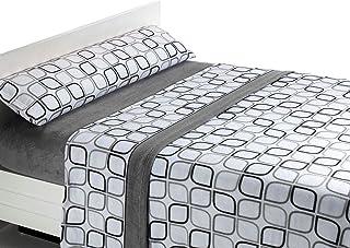 comprar comparacion SABANALIA Juego de sábanas de coralina Spring - Gris, Cama 90