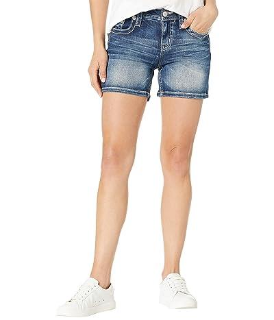 Miss Me Horseshoe Pocket Shorts in Medium Blue Women