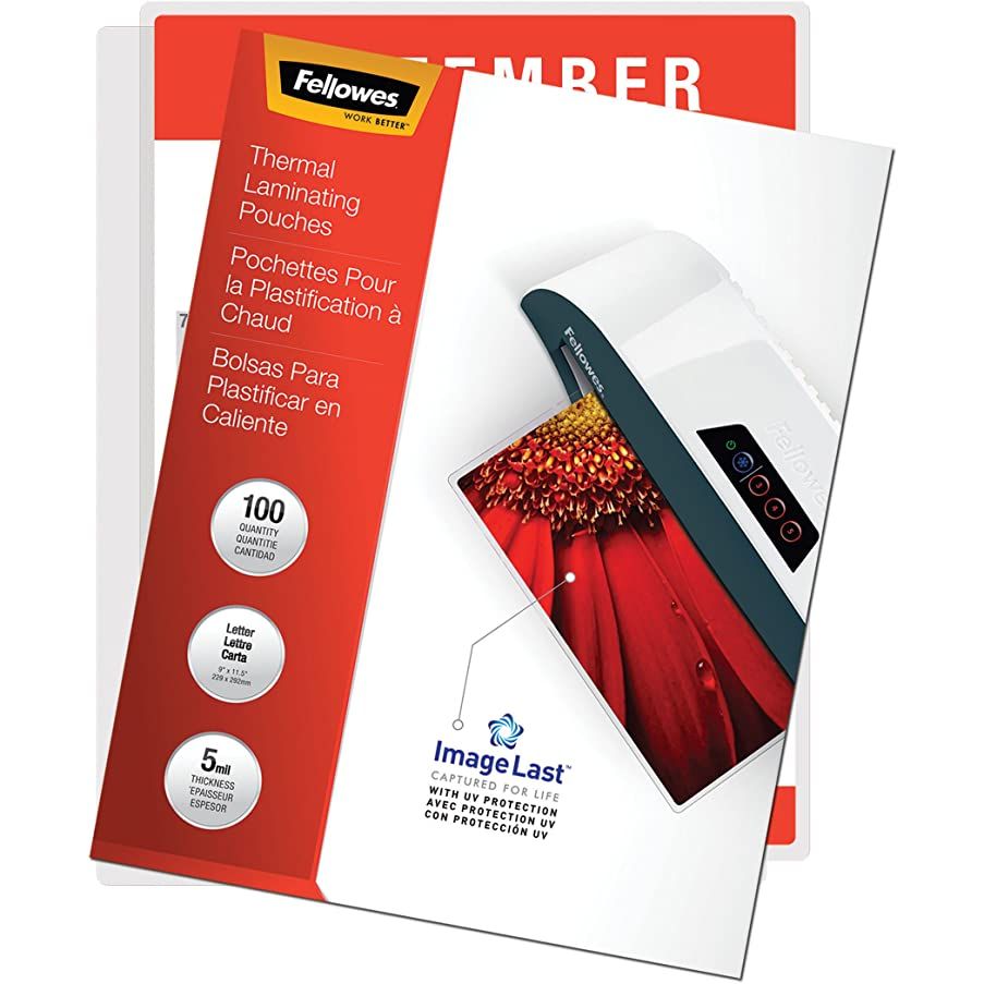 Fellowes Thermal Laminating Pouches, ImageLast, Jam Free, Letter Size, 5 Mil, 100 Pack (52040)