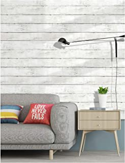 HaokHome 5030 Shiplap Peel and Stick Wood Wallpaper Off White Distressed Wood Plank Wallpaper Self-Adhesive 17.7