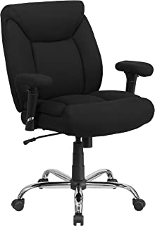 Flash Furniture HERCULES Series Big & Tall 400 lb. Rated Black Fabric Deep Tufted Swivel Ergonomic Task Office Chair with Adjustable Arms
