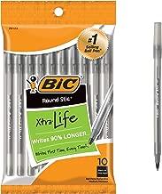 BIC Round Stic Xtra Life Ball Pen, Medium Point (1.0 mm), Black, 10-Count