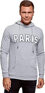 oodji Ultra Men's Hoodie with Pocket and Chest Patches