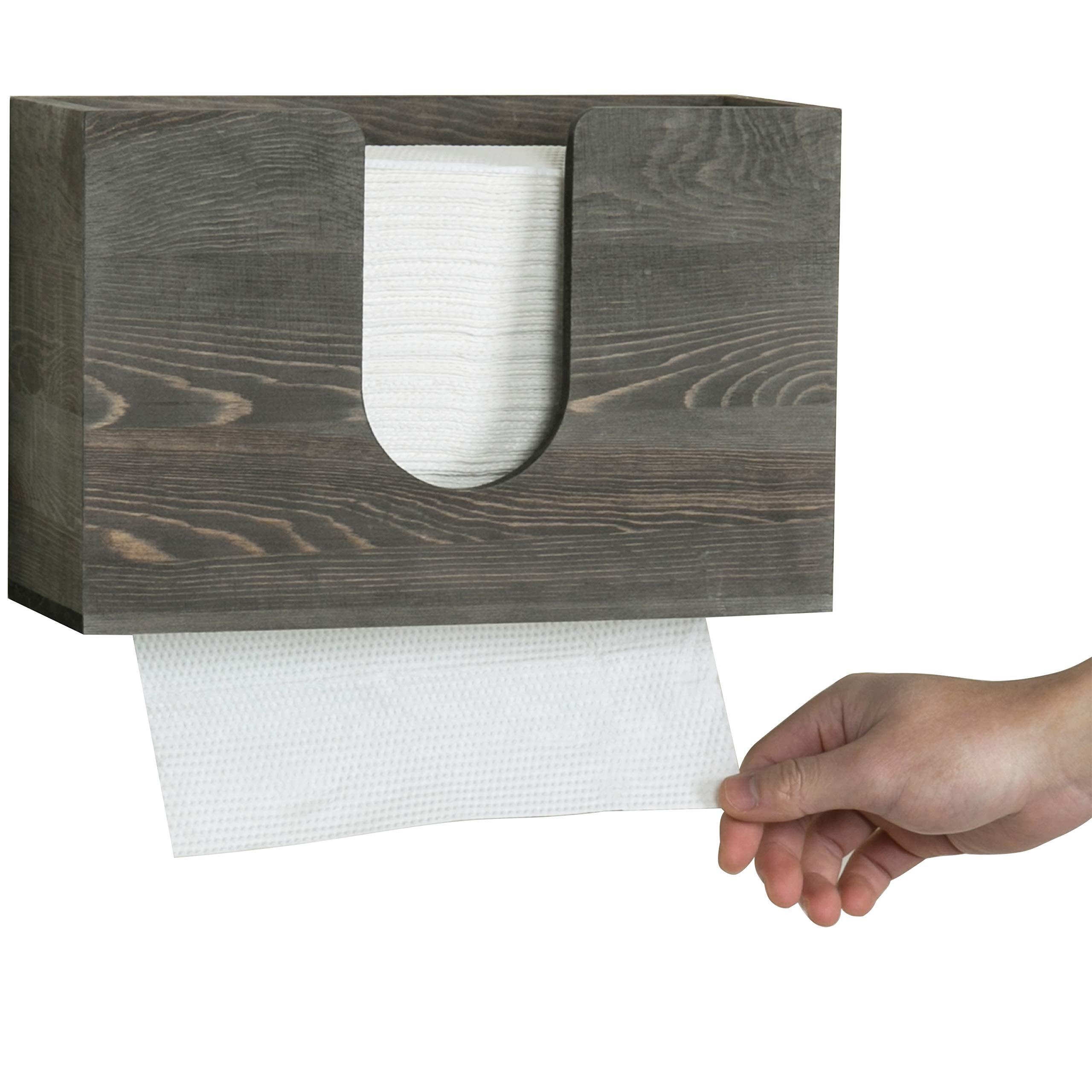 Vintage Dark Wood Paper Towel Holder Wall Hanging 7
