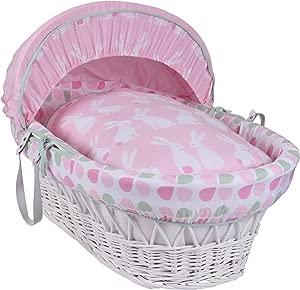 Clair Lune Rabbits White Wicker Moses Basket inc  Bedding  Mattress  amp  Adjustable Hood  Pink