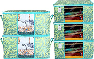 Kuber Industries Metallic Printed Non Woven 3 Pieces Saree Cover and 2 Pieces Underbed Storage Bag, Cloth Organizer for Storage, Blanket Cover Combo Set (Green) - CTKTC038526