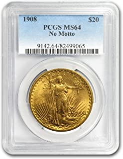 1908 $20 Saint-Gaudens Gold Double Eagle No Motto MS-64 PCGS G$20 MS-64 PCGS