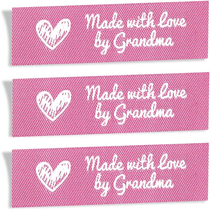 Wunderlabel Handmade with Love by Nana Granny Mix Thread Craft Art Fashion Woven Ribbon Ribbons Tag Clothing Sewing Sew Clothes Garment Fabric Material Embroidered Black on Gray//Grey 25 Labels
