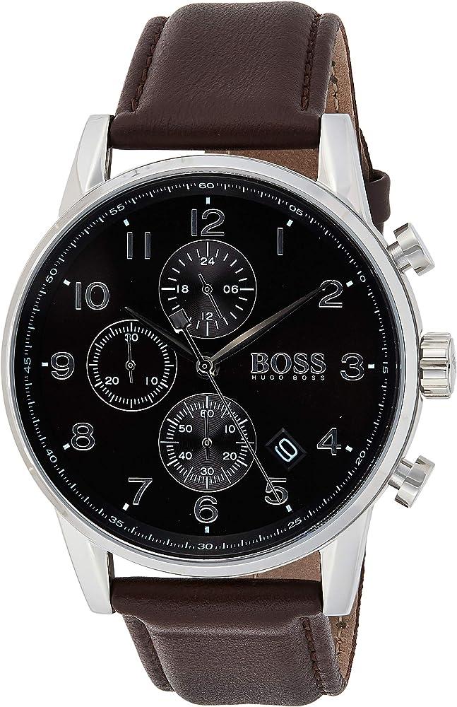 Orologio Hugo Boss cronógrafo per uomo, con cassa in acciaio inossidabile e cinturino in pelle 1513494