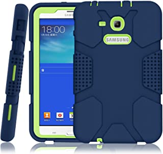 Hocase Galaxy Tab E Lite 7.0 (2016) Case, Rugged Heavy Duty Kids Proof Protective Case for Galaxy Tab E Lite 7.0 SM-T113NDWAXAR/SM-T113NYKAXAR - Navy Blue/Lime Green