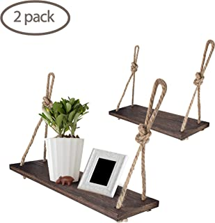 Yankario Rope Hanging Floating Shelves, Rustic Wood Wall Decor Swing Shelf with 4 Hooks, Pack of 2 (Renewed)