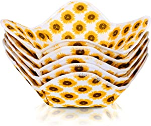 4 Pieces Sunflower Bowl Huggers Sponge and Microfiber Hot Bowl Holder Microwave Bowl Hugger Heat Insulated Plate Bowl Pad, 7.5 x 7.5 x 3.5 Inches