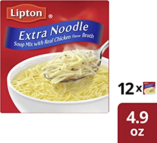 Lipton Soup Secrets Extra Noodle Soup Mix, with Real Chicken Flavor, 4.9 Ounce, Pack of 12