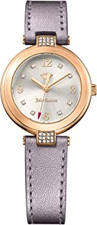 Women's Small Sienna 1901640 rose gold ion-plated brass case with crystal, Silver and white dial with Arabic index, smoke metalic leather strap