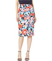 All Over Floral Printed Scuba Skirt Straight Glitter