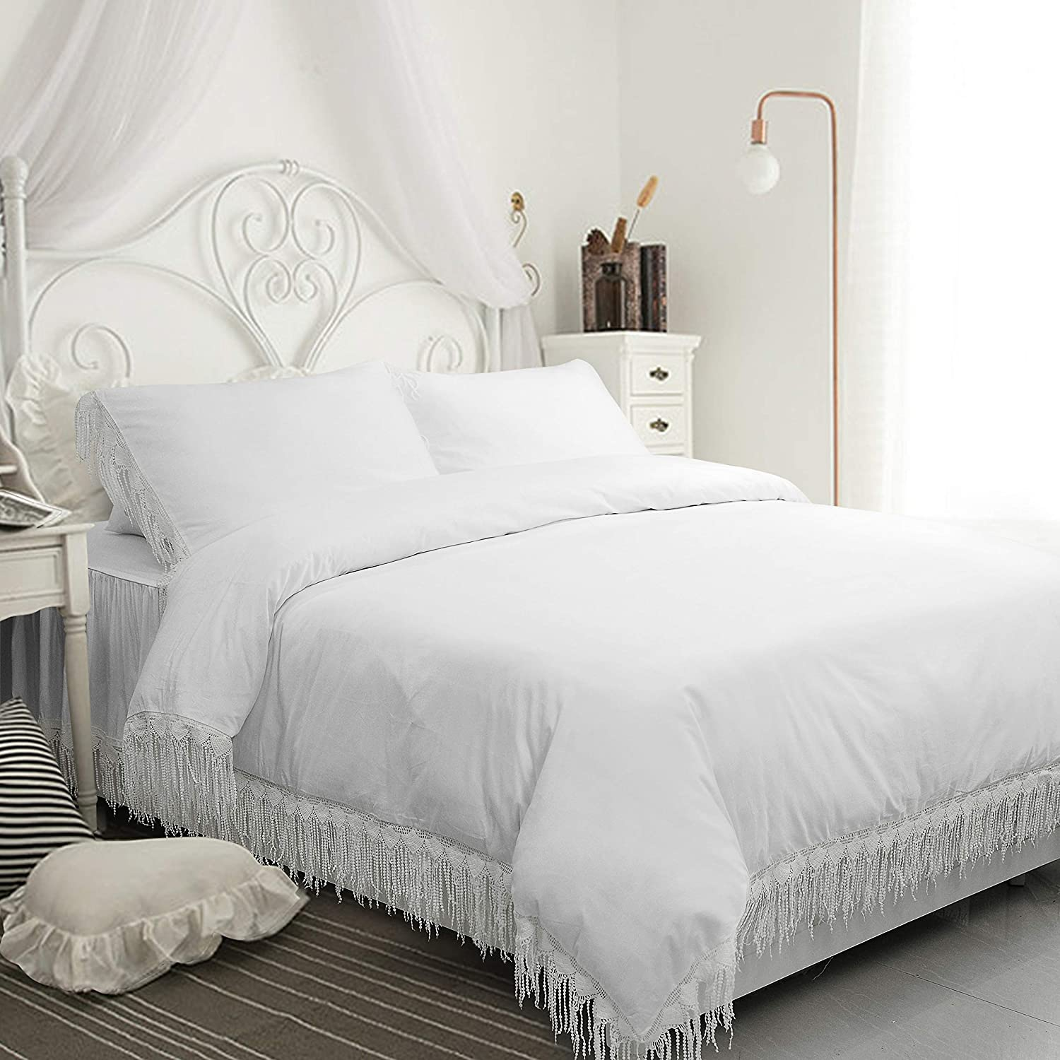 FADFAY White 25% OFF Boho Bedding Queen Size D Tassel Cotton Popular shop is the lowest price challenge 100% 600 TC
