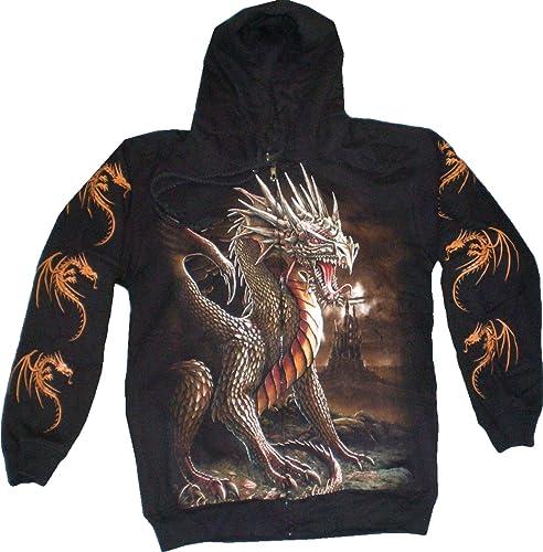 Evil Wear - Sweat-Shirt à Capuche - Imprimé Animal - Homme Noir noir mit Motiven