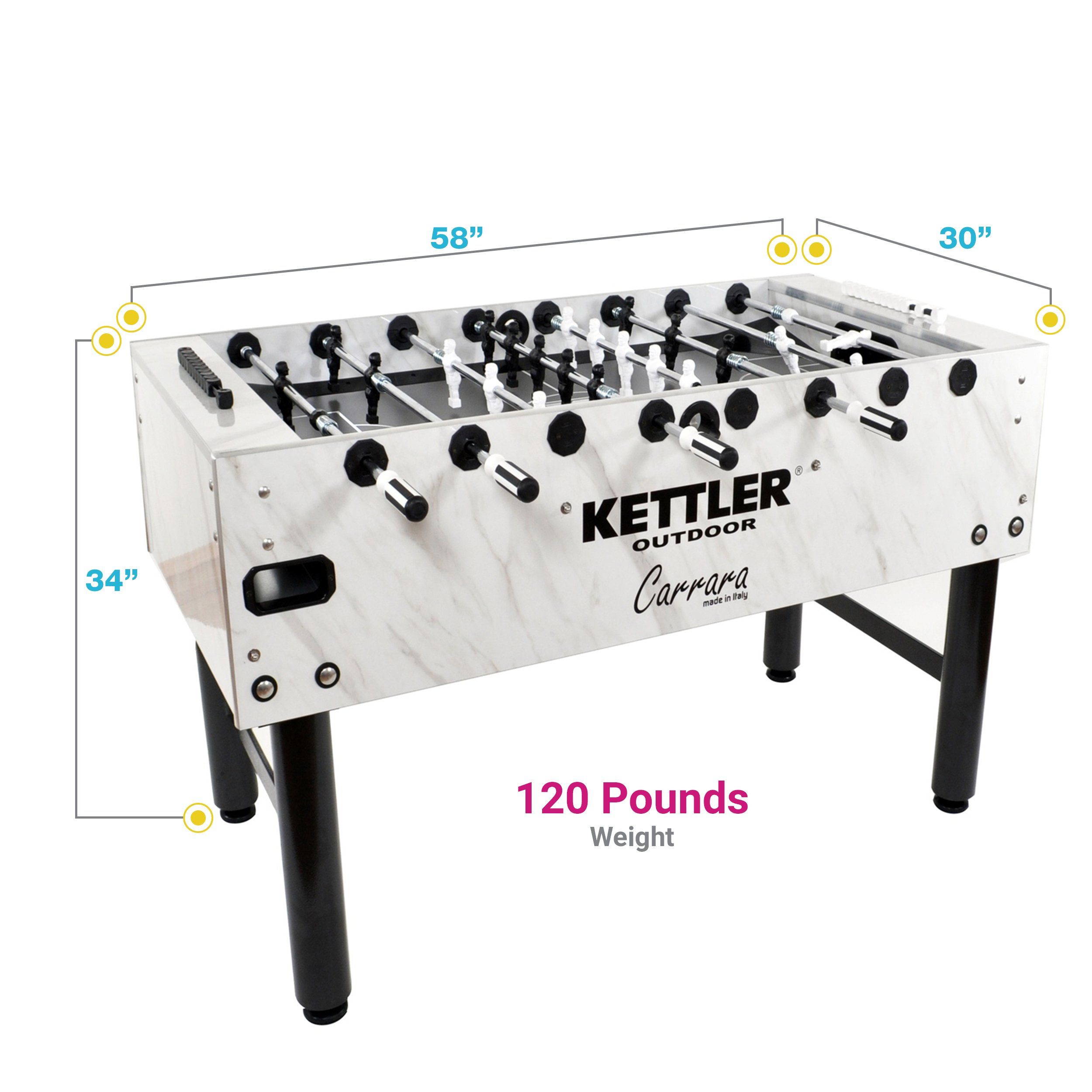 13. Kettler Foosball Table – The Carrara Model for Outdoors
