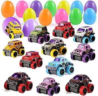 "12 Pcs 3.8"" Pullback Monster Cars Filled Easter Eggs for Easter Egg Hunt, Basket Stuffers Filler, and Classroom Prize Supplies"