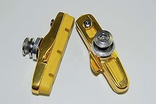 KINGSTOP JIM 2 Pairs of Road Bicycle Rim Brake Set Brake Pads Inserts + Golden Holders for Shimano Tektro Sram Caliper for Aluminum Rim use