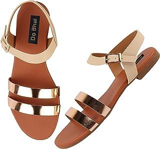 Do Bhai Women Open Toe Slingback Flat Sandals