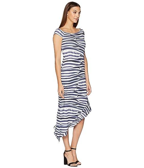 Nicole Miller Off Shoulder Dress Blue/White Visit New Online 9r2Ao8f
