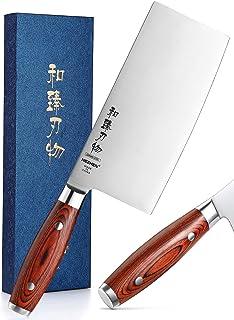 HEZHEN Série De Base Couperet à Légumes 18cm, Couteau De Cuisine Chinois Tranchant Profe Couteau De Boucher,Acier Inoxydab...