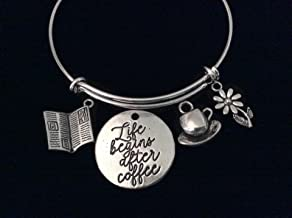 Life Begins After Coffee Expandable Charm Bracelet 3D Newspaper Coffee Cup Silver Wire Adjustable Bangle Gift Stacking Daisy Co-worker Boss Gift