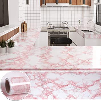 Amazon Com Chichome 29 9 X472 Marble Contact Paper Pink For Countertops Peel And Stick Pink Marble Look Wallpaper Faux Marble Adhesive Waterproof Pvc Film For Kitchen Backsplash Cabinet Desk Shelf Liner Home Improvement