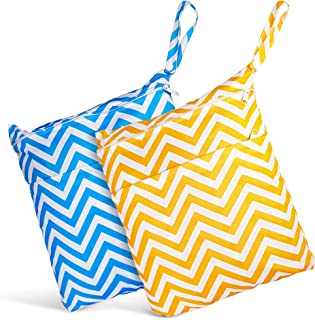 Wet Dry Bags Waterproof Cloth Reusable Bags ~ Set of 2 Zippered Pocket Travel Beach Pouch ~ Colorful Bag for Soiled Baby D...