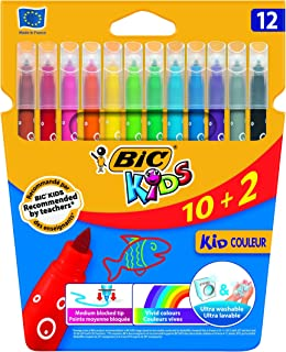 BIC Kids Kid Couleur rotuladores punta media - colores Surtidos, Blíster de 10+2