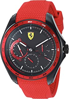 Ferrari Men's SPEEDRACER Stainless Steel Quartz Watch with Silicone Strap, Red, 22 (Model: 0830681)