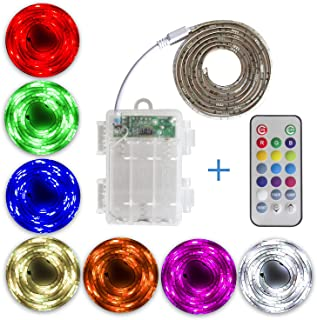 SUMAITEC Waterproof LED RGB Strip Lights with Battery Box, Multi-Color with Remote Control, Battery Powered, Length to Sel...