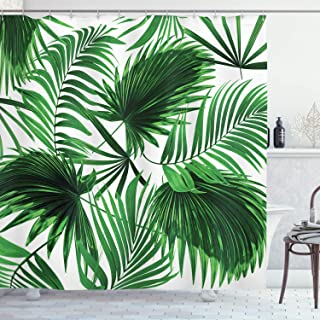 Ambesonne Palm Leaf Shower Curtain, Realistic Vivid Leaves of Palm Tree Growth Ecology Lush Botany Themed Print, Fabric Bathroom Decor Set with Hooks, 84
