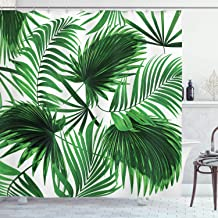 Ambesonne Palm Leaf Shower Curtain, Realistic Vivid Leaves of Palm Tree Growth Ecology Lush Botany Themed Print, Fabric Bathroom Decor Set with Hooks, 70 inches, Fern Green