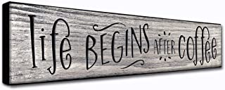 LACOFFIO Life Begins After Coffee 16 x 3.5 Inches Rustic Home Wall Art Decor Plaque Quirky Inspirational Coffee Quotes- Great Housewarming Gift Idea