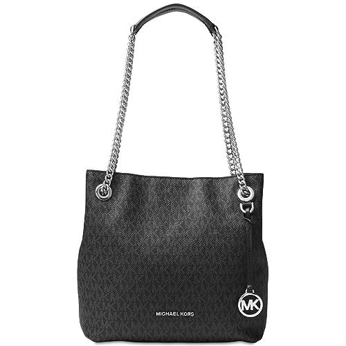 27c38d81ed815e Michael Kors Womens Jet Set Chain Pebbled Leather Shoulder Handbag