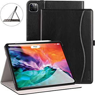 ZtotopCase for New iPad Pro 12.9 Case 2020, Leather Folio Stand Case Smart Cover with Auto Sleep/Wake Strap Pocket Supports iPad Pencil Charging for 2020 iPad Pro 12.9 Inch 4th Generation - Black