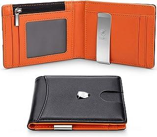 Portafoglio Uomo Vera Pelle Blocco RFID con fermasoldi, Piccolo Portafogli con tessere tascabile documenti, porta carte di...