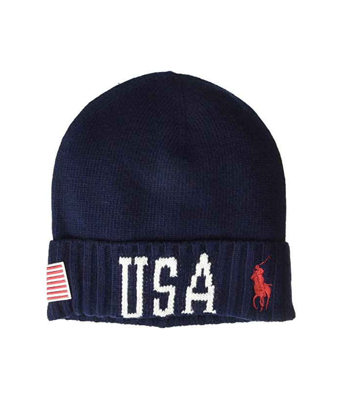 Polo Ralph Lauren  USA Stadium Cuff Hat (Navy/Cream) Caps