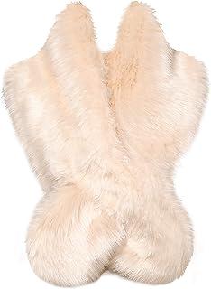 BABEYOND Womens Faux Fur Collar Shawl Faux Fur Scarf Wrap Evening Cape for Winter Womens Coat